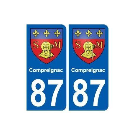 87 Compreignac blason autocollant plaque stickers ville arrondis