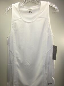 EASTBAY 2-COLOR RUN SINGLET WHITE// BLUE SIZE XLARGE POLYESTER 8137207 DISCOLORED