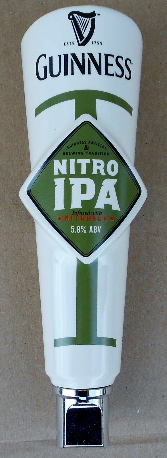 GUINNESS NITRO IPA SMALL SHOTGUN CERAMIC BEER TAP HANDLE NEW IN BOX 7.5 INCH