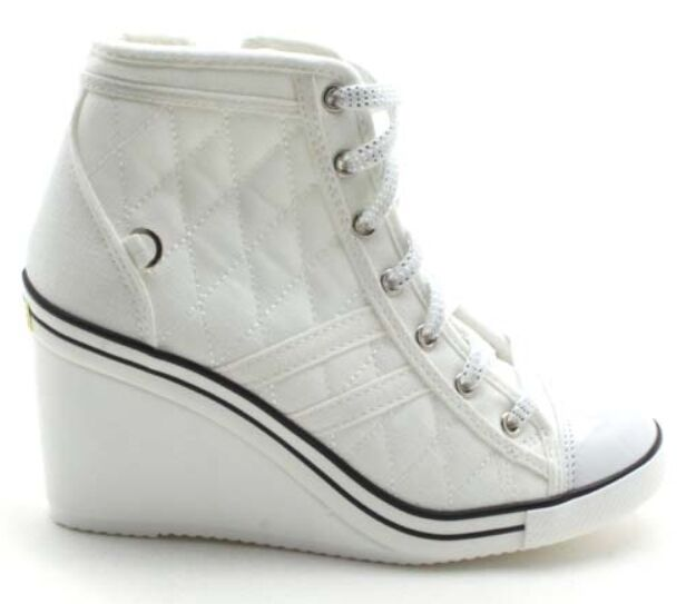 5cc726ea221 Epicstep Women s White Canvas Shoes High Top Wedges High HEELS Quilted  Casual 8 for sale online