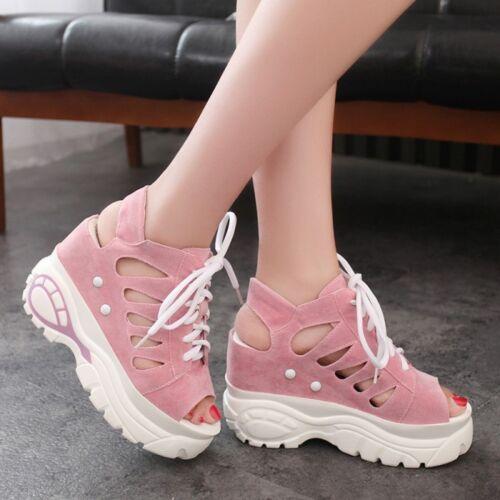 Femmes Sandales Talon Compensé Chaussures Hollow Out lace up platform Athletic Sandales