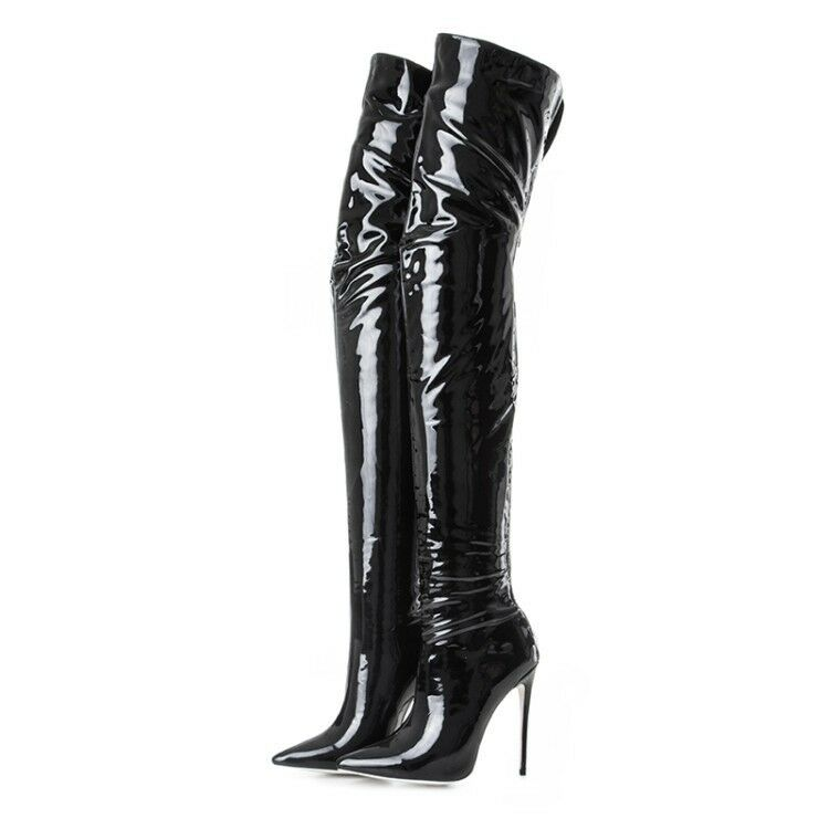 Real Real Real Leather Ladies Pointed Toe Thigh High Over the Knee Boots Stiletto shoes sz a3ce6e