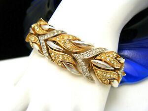 Beautiful-Crown-Trifari-Rhinestone-Bracelet-Gold-Tone-Silver-Tone-Flames