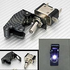 CARBON FIBER WHITE LIGHT LED AIRCRAFT TYPE TOGGLE SWITCH