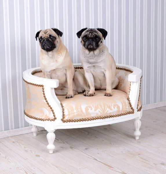 DemüTigen Hundebett Barock Hundesofa Creme Bett Für Mops & Bully Hundekorb Hundekissen Pug Um Eine Reibungslose üBertragung Zu GewäHrleisten