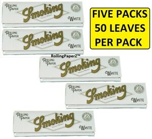 5X-Packs-of-SMOKING-WHITE-1-1-4-Cigarette-Rolling-Papers-50-leaves-per-pack