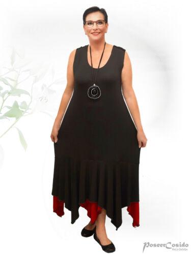44 xxxl Rouge Zipfel Lagenlook Godet L 58 xl Design Robe Ballon Poco xxl Noir BordCxe