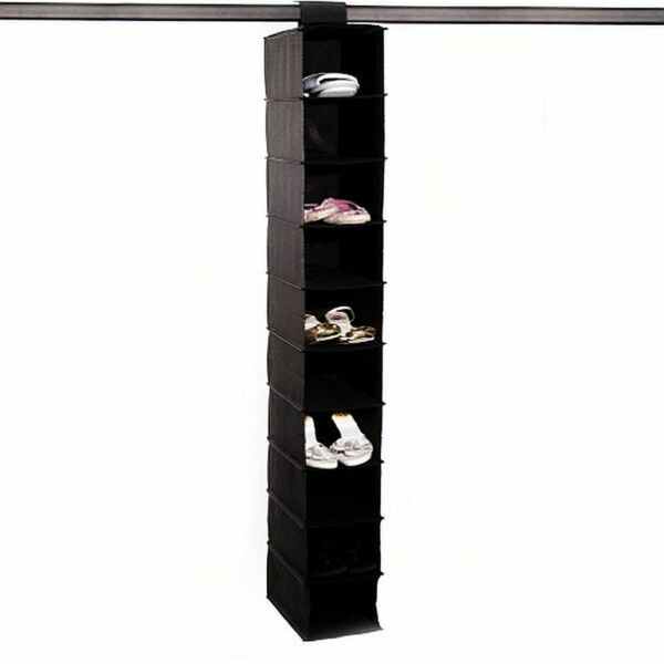 10 Shelf Hang Up On Rail Shoe Storage Hanging Wardrobe Clothes Tidy Organiser Jaarlijkse Koopjesverkoop