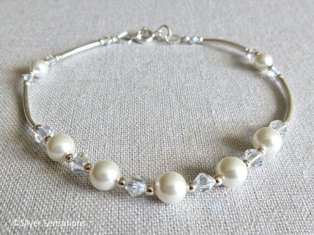 6dd251bf81777 White Swarovski Pearls Crystals & Sterling Silver Curve Tubes Handmade  Bracelet