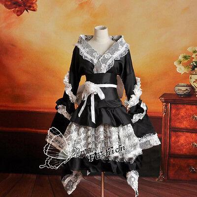 Lolita Cosplay Gothic Kostüm Kimono-Stil Kleid Retro Palast Abendkleid Satin NEU