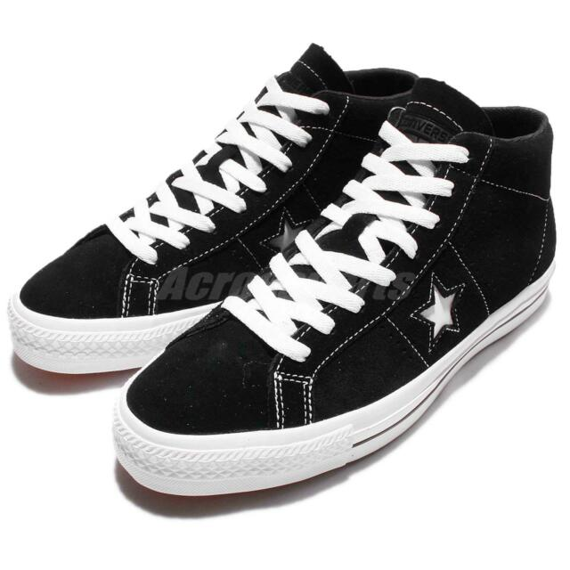 485f9d979462 Converse CONS One Star Pro Suede Mid Black White Men Skateboarding Shoes  153472C