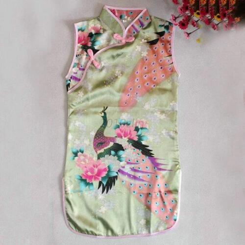 UK Chinese Qipao Dress Baby Girl Kids Floral Cheongsam Peacock Chirpaur Costume