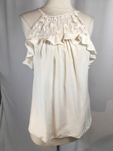 Rebeca Taylor Size 2 Ivory Silk & Lace Ruffle  Blo