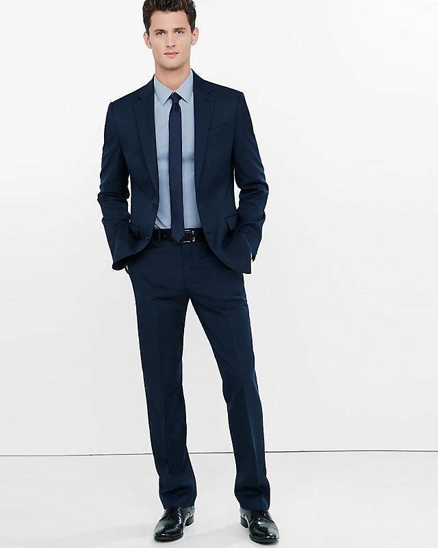 NEW EXPRESS  NAVY CLASSIC PRODUCER WOOL BLEND TWILL SUIT PANT SZ 34 36