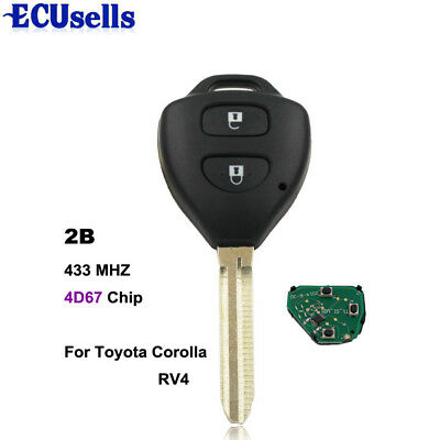 Remote Key 2 Button 433mhz for Toyota Rav4 Europe 2006-2010 with 4d67 Chip
