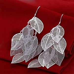 Wholesale-discount-solid925-sterling-silver-jewelry-many-hollow-leaf-Earring