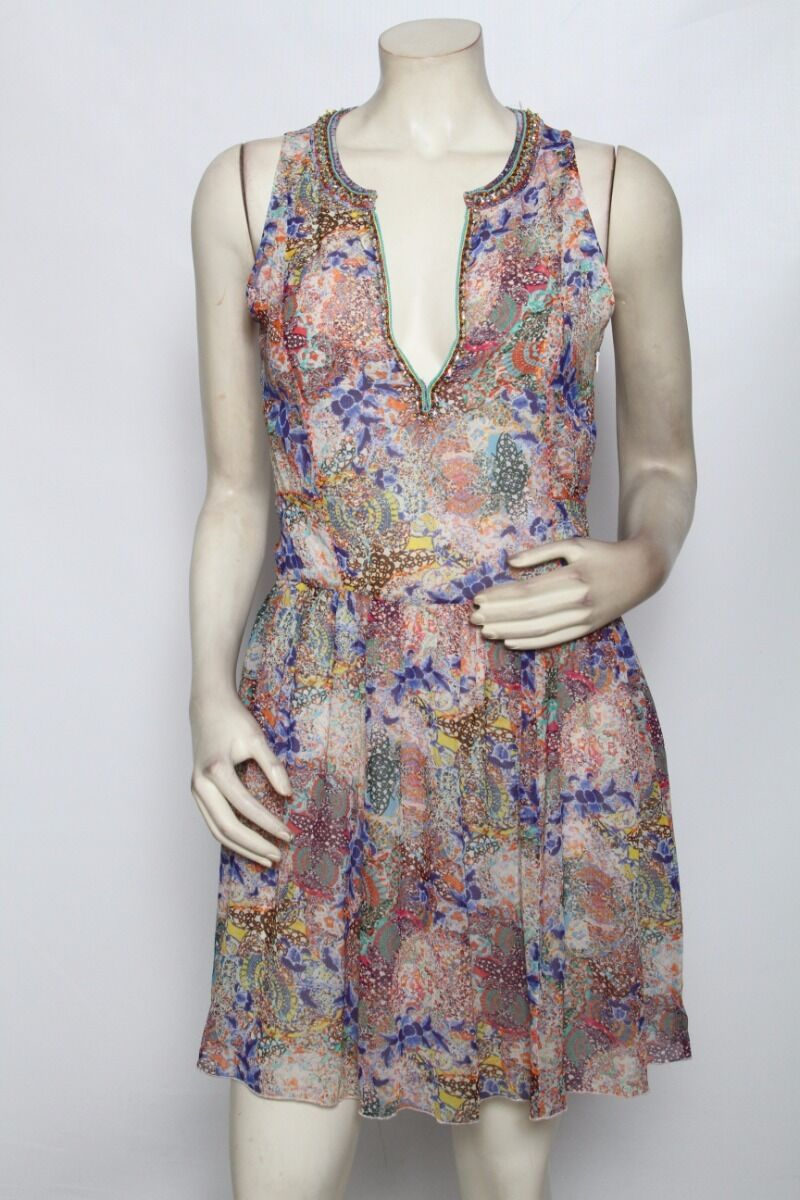 MEGAN PARK Multi Floral Pleated Beaded Empire Waist Dress - Size 1 S