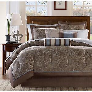 Details About Beautiful Modern Elegant Brown Silver Grey Blue Bed In Bag Comforter Set Sheets