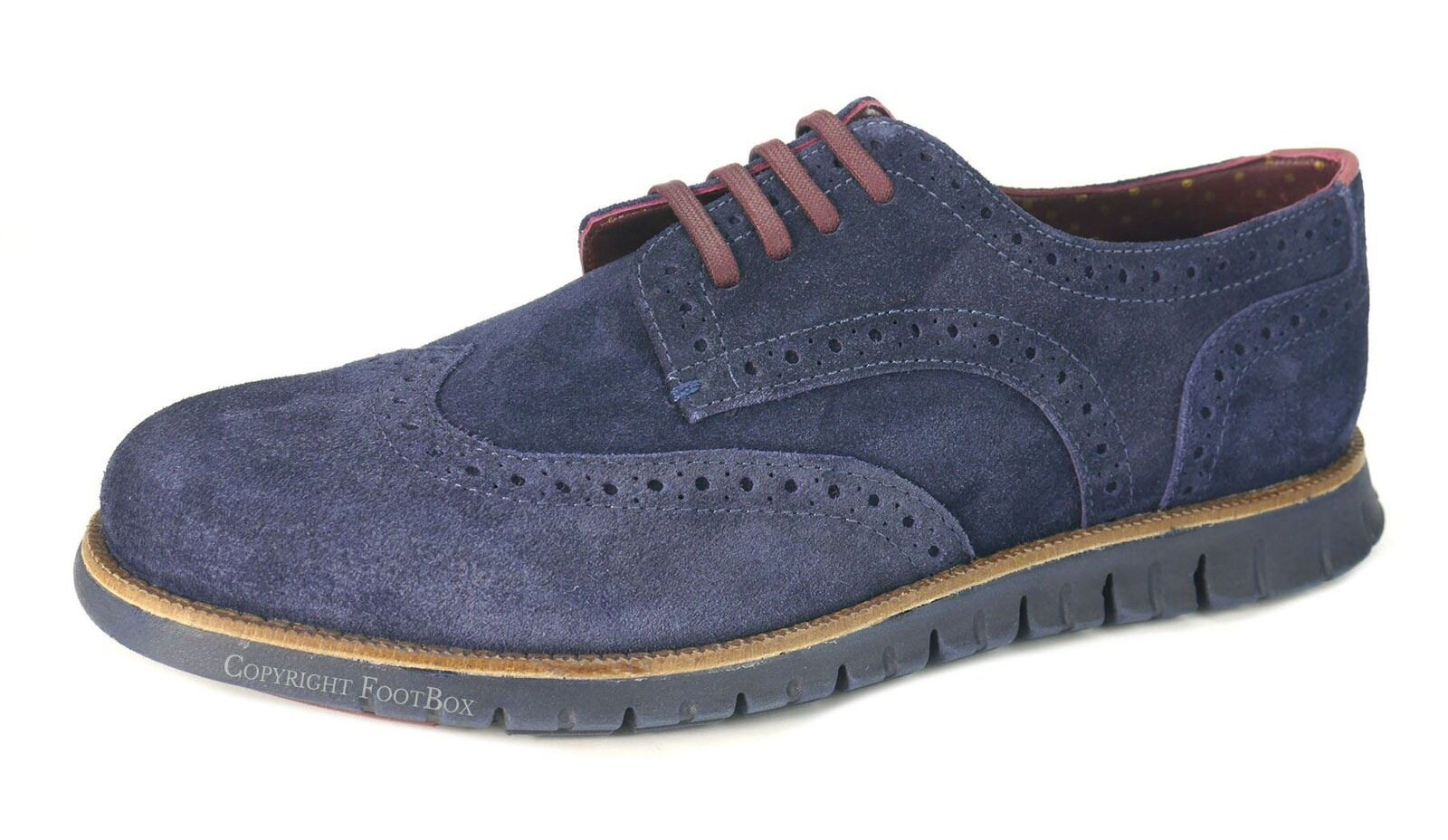 London Brogues Gatz Mens Suede Brogues Casual Derby Lightweight Shoes Navy Shoes