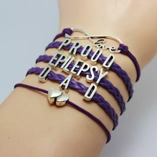 Lovely Friendship Proud Epilepsy Dad Awareness infinity Bracelet in gift bag