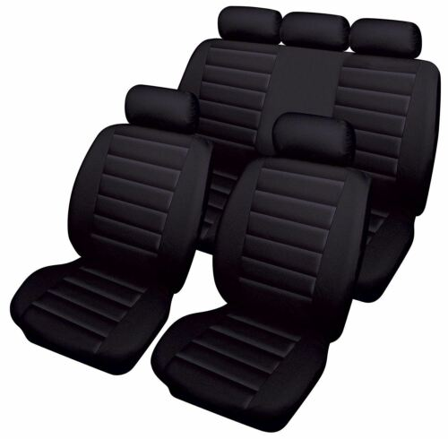 Black Leatherlook Front /& Rear Car Seat Covers for Audi A6 Avant