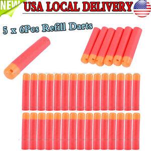30PCS Red Refill Foam Bullet Soft Darts Nerf N-Strike Elite Mega Centurion Toy R