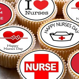24-Edible-wafer-Fairy-cake-toppers-decorations-D2-I-Love-Nurses-appreciation-day