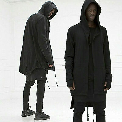 Men hooded jacket long cardigan black ninja goth gothic punk hoodie funny