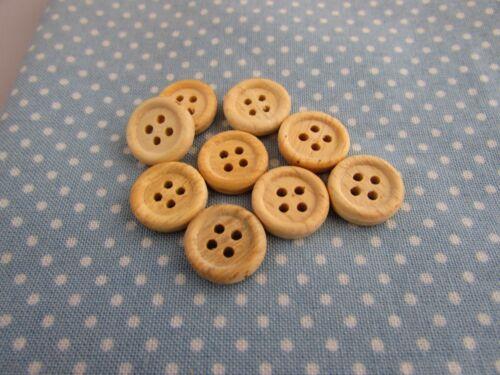 50,100 13mm Rotondo Bianco Antico pulsanti colorati in legno 4 FORI CONFEZIONI DA 10 20