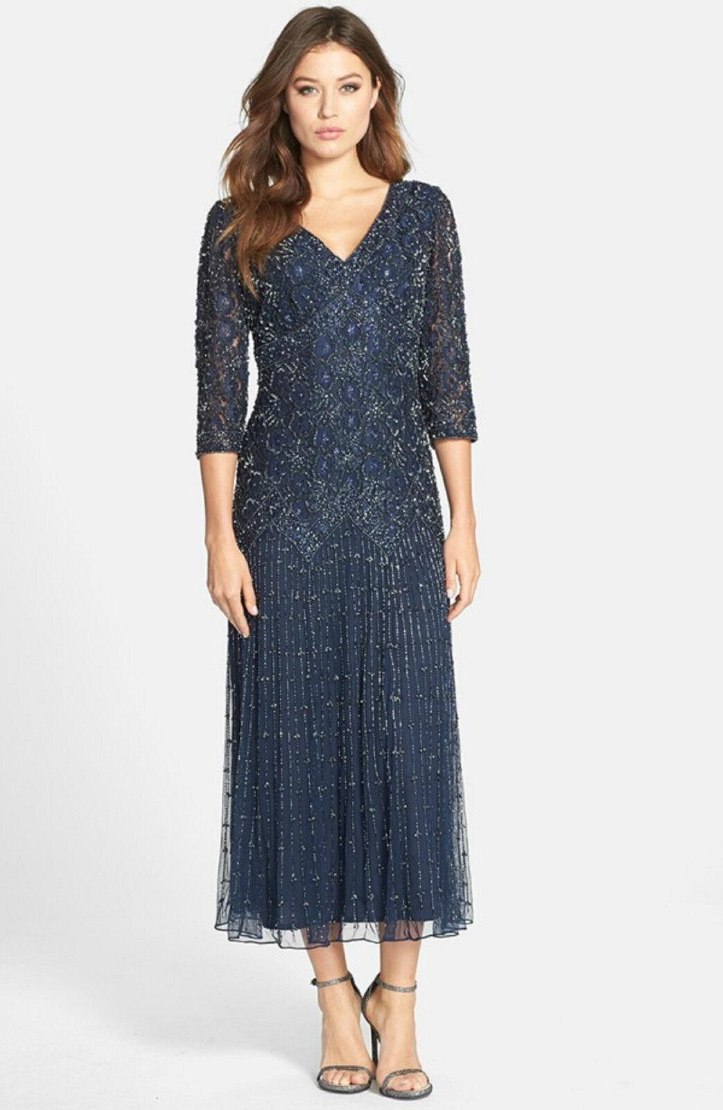 New PISARRO NIGHTS Beaded V Neck Mesh Dress Navy Blau 3 4 Sleeve Größe 4