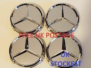 4x-Mercedes-Silver-Alloy-Wheel-Centre-Hub-Caps-75mm-A-B-C-E-S-M-Class-ML-CLA-GLA