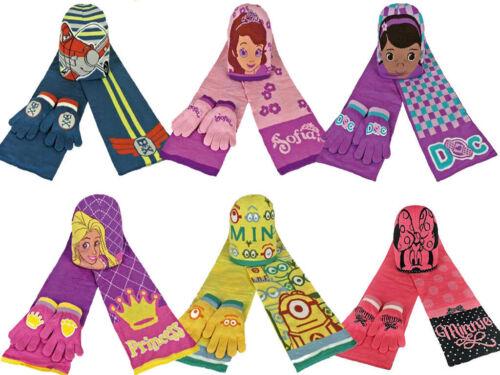 PACK OF 3 DISNEY WINTER WARM BEANIE HAT SCARF GLOVES KIDS GIRLS /& BOYS 1-5 YEAR