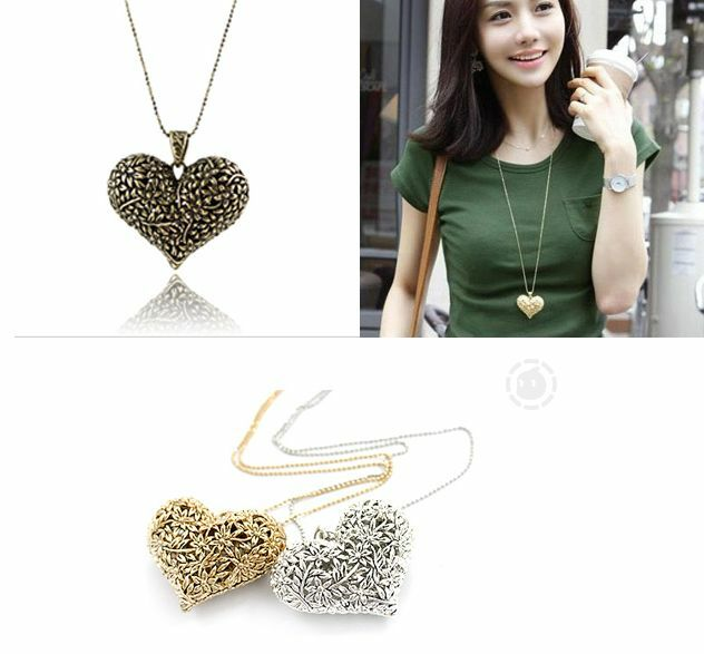 Cute Vintage Chunky Statement Bib Heart-shaped Pendant Choker Collor Necklace