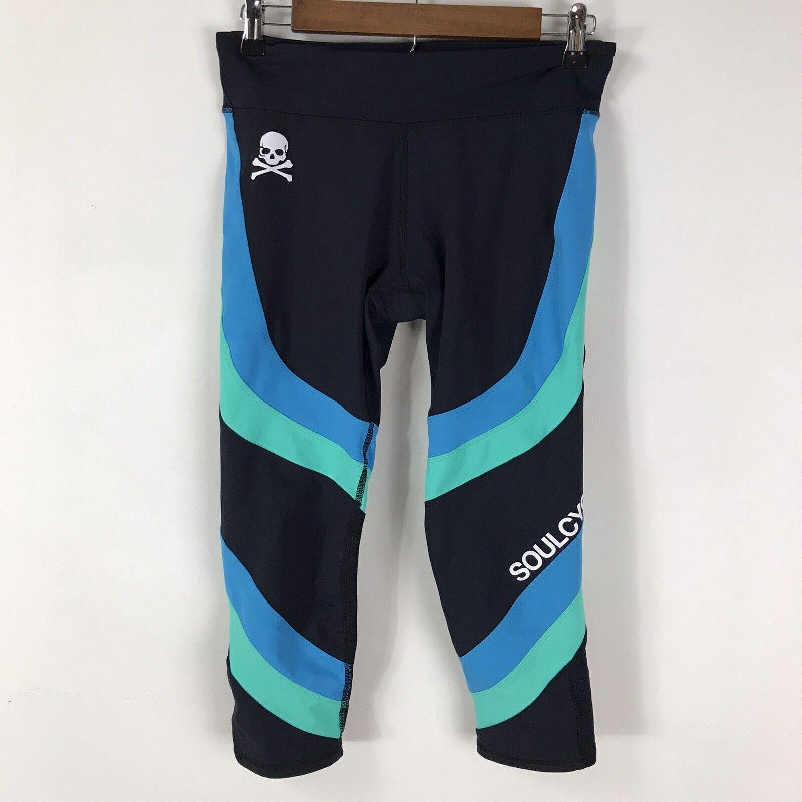 Soulcycle Black Crop Wraparound Blue Green Stripe Workout Legging Size Medium