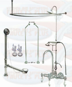 Image Is Loading Chrome GooseNeck Clawfoot Tub Faucet Package Kit With