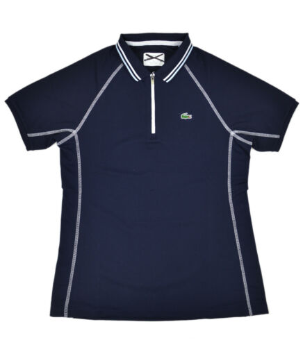 Lacoste Sport Womens Navy Blue Contrast Stitch Zip Up Polo Shirt Top Sz 4 36