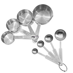 8pcs stainless steel silver kitchen measuring cups for 1 tablespoon to teaspoon