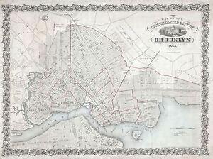 1863-MCCLOSKEY-POCKET-MAP-BROOKLYN-NEW-YORK-VINTAGE-POSTER-ART-PRINT-2942PY