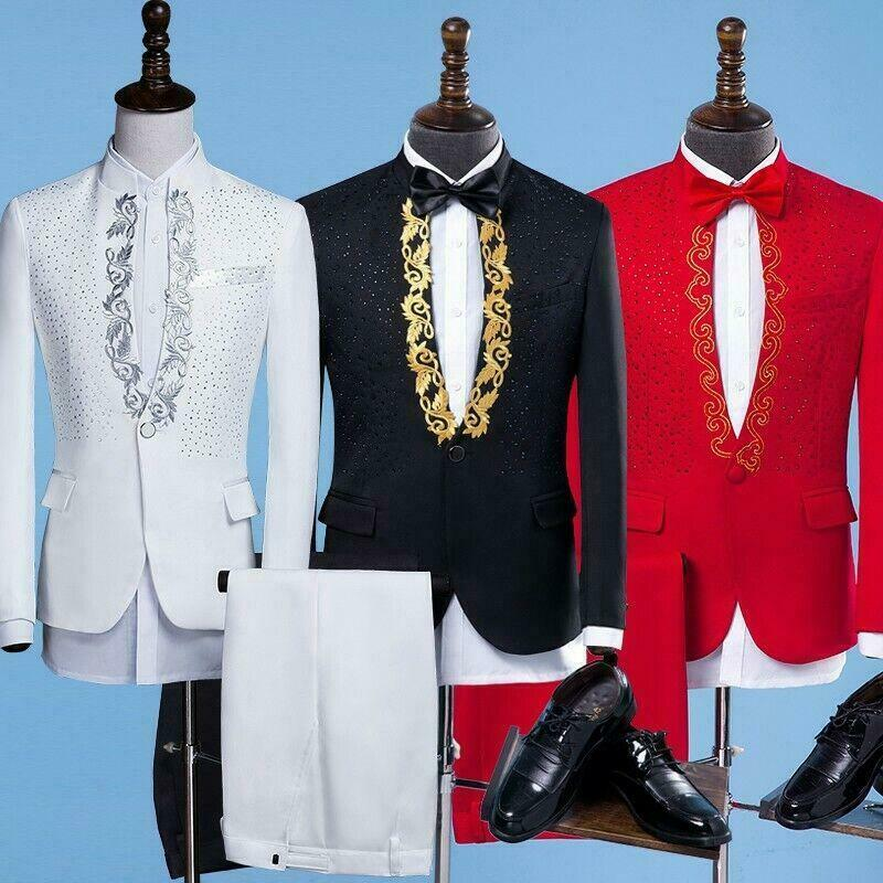 2Pcs Mens Shiny Sequins Stand Collar Singer Suits One Button Coat Pants Emcee