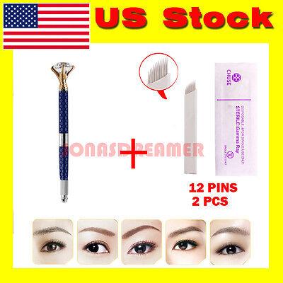 Microblading Permanent 3D Makeup Pen Eyebrow Tattoo Pen Pigment Cups Needles Kit