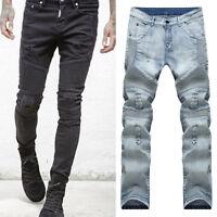 Men's Slim Ripped Straight Skinny Denim Sport Pants Pencil Trousers Casual Jeans