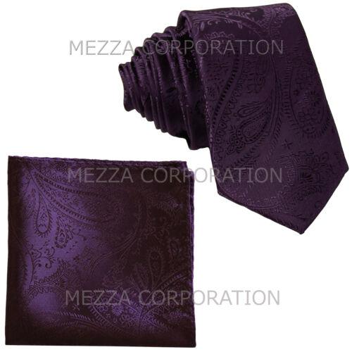 """New Vesuvio Napoli Men/'s 2.5/"""" skinny necktie /& hankie set paisley dark purple"""
