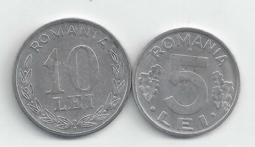 2 DIFFERENT COINS from ROMANIA 1992 5 LEI /& 1993 10 LEI