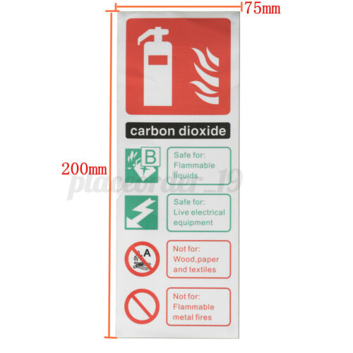 Details about  /10pc 75mmx200mm Fire Extinguisher Carbon Dioxide Id Plastic Sticker Sign Warning