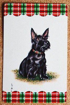 DOG- SCOTTIE -LIAL- TARTAN BORDER - SINGLE VINTAGE DECO SWAP PLAYING CARD