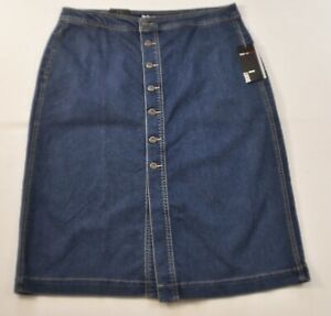 women-039-s-Style-amp-Co-skirt-size-12-blue-denim-button-front-mide-rise-pockets-rayo