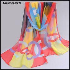 foulard mousseline de soie multicolore cercle rouge bleu jaune vert noir écharpe
