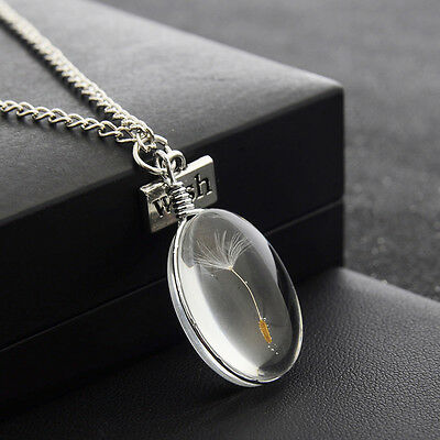 Wish Glass Necklace Dandelion Seeds in Glass Pendant Long Necklace Women Gift yy