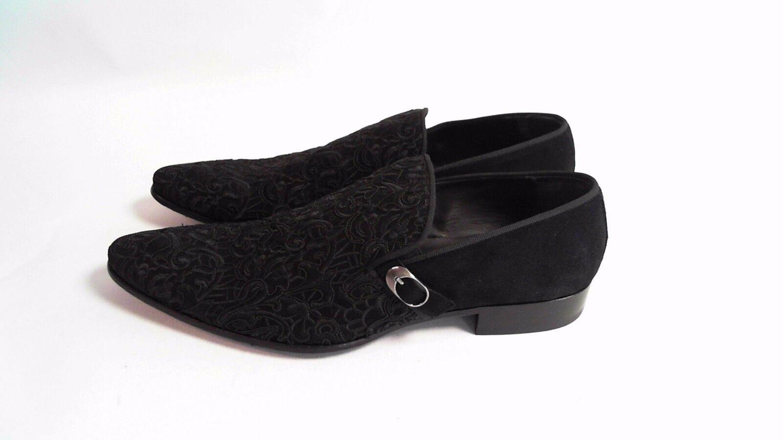 Bespoke HQ Men's Avery Shoes Lace Suede Italian Leather Black EU 45 #18B238