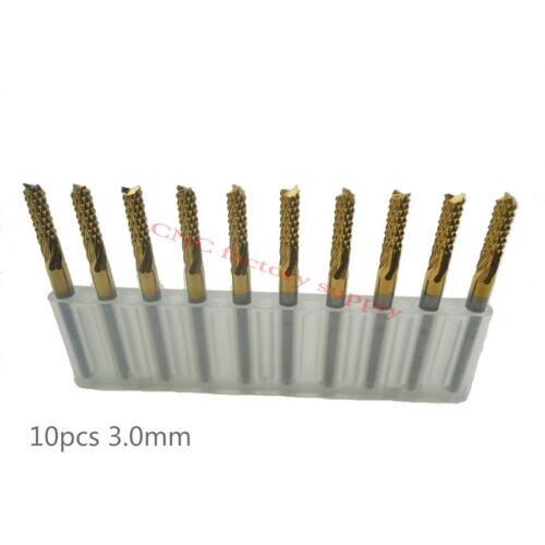 10pcs Titanium Coat Carbide 3.0mm PCB Carbide Tools Millinging Cutters Kit